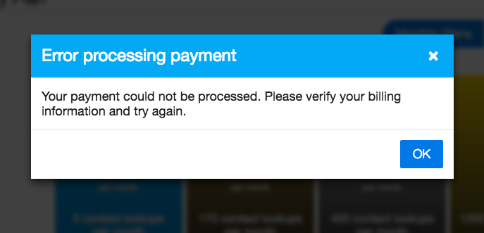 Error during payment: